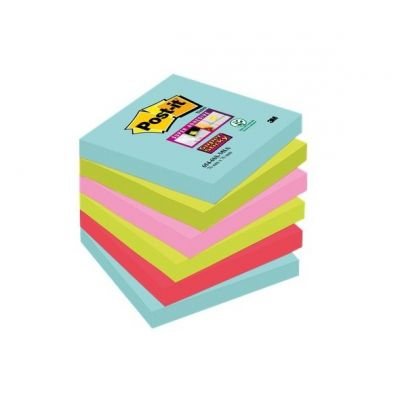 Märkmepaber iseliimuv Post-it SuperSticky 654SMI6 Miami 76x76mm 6*90l  assortii 6 patja