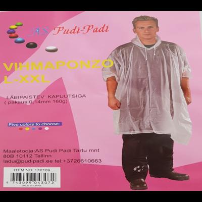 Vihmakeep-ponzo läbipaistev värviline kapuutsiga,paksus 0,14mm