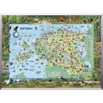 Seinakaart lamineeritud -Eestimaa piltkaart suur 1380x980mm
