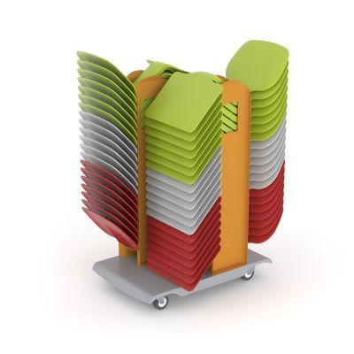 Z-tooli käru, 753 x 476 x 1036 mm, piduritega rattad, mahutab 40 Ztooli