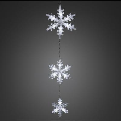 Akrüülist lumehelveste komplekt, L-60cm, 21/17/13cm, riputatav; 15wLED tulega, läbipaistev kaabel