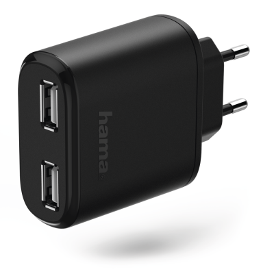 USB-laadija seinapesasse Hama Charger, 2xUSB, 3.4A 17W, black/must