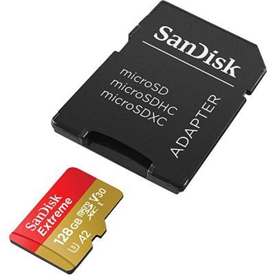 Mälukaart Sandisk Extreme 128GB microSDXC + Adapter 160MB/s A2 C10 V30 UHS-I U4, Rescue Pro Deluxe