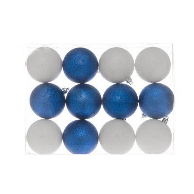 Jõuluehted-pallid 7cm 12tk karbis, sädelevad: 6 valget +6 sinist/ 1 pakk