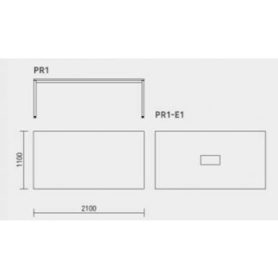 PRAKTIK koosolekulaud PR1-E1 koos pistikupesakomplektiga (3 pesa+2 DATA+1 VGA), 2100x1100mm/ melam. plaat+ tumehallid või valged jalad