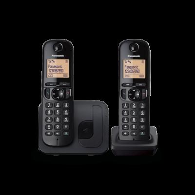 Telefon Panasonic KX-TGC212FXB tume, kahe toruga DECT komplekt, numbrinäit