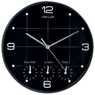 Seinakell UNILUX OnTime, 4 erinevat ajatsooni; must; D-30,5cm/koos patareidega