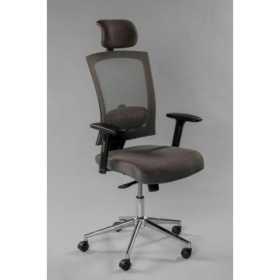 Töötool VIRGINIA 5212 peatoega, reg. käetoed, seljatugi hall võrk/ kandevõime kuni 140kg/hall kangas, jalarist kroom
