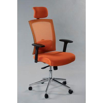 Töötool VIRGINIA 5211 peatoega, reg. käetoed, seljatugi oranž võrk/ kandevõime kuni 140kg/ oranž kangas, jalarist kroom