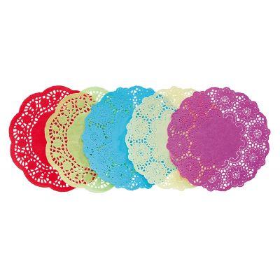 Värvilised koogipaberid 100tk komplektis, D160 mm, punane, helesinine, beez, kollane