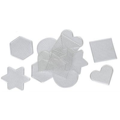 Puupärlite alusplaat 15tk komplektis,8x8 cm, süda, kuusnurk, nelinurk, täht, ring
