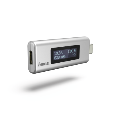 Laadimisvoolu mõõtja Hama USB-C Power Indicator - kuvab pinget 4V-21V, voolutugevust 0.05A-5.5A, voolu suunda, laetuse taset
