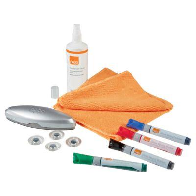 Klaastahvli tarvikukomplekt Nobo Starter Kit - 4 klaastahvlimarkerit, klaastahvli puhastaja, puhastusvaht, mikrofiiber lapp, 4 magnetit