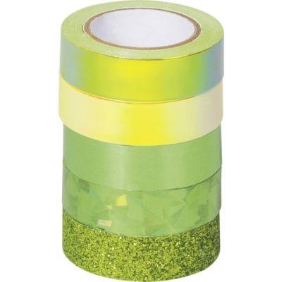 Paberteip dekoreerimiseks Effekt mix roheline 4x(12mmx5m) 1x glitter 12mmx2m, Heyda