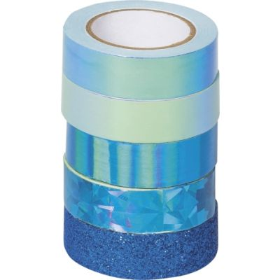 Paberteip dekoreerimiseks Effekt mix sinine 4x(12mmx5m) 1x glitter 12mmx2m, Heyda