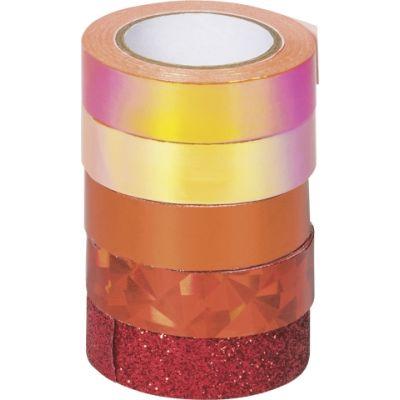 Paberteip dekoreerimiseks Effekt mix oranž 4x(12mmx5m) 1x glitter 12mmx2m, Heyda