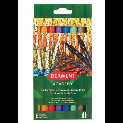 Derwent Academy Twin Tip Markers - Brush (8 Pack)
