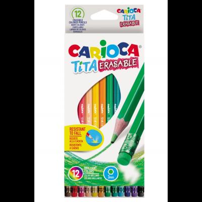 Värvipliiatsid Carioca Tita 12värvi kustukummiga, kuusnurksed