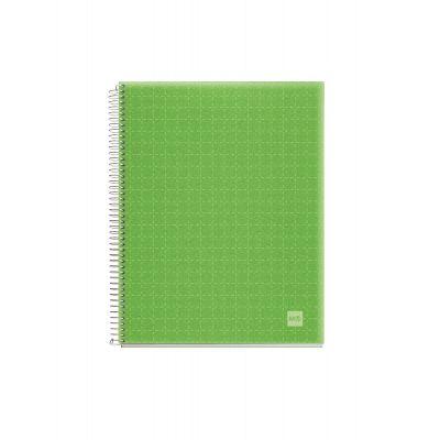 Märkmik A7 100l.  5x5 ruut spiraal 4-värv register, läb.roheline PP-kaanega APPLE GREEN CANDY MIQUELRIUS
