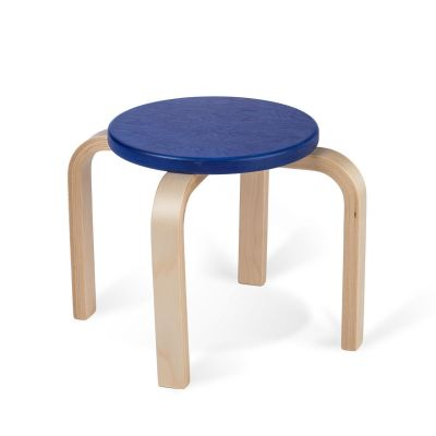 Lasteaiatool/taburet TIPA, kask sinine RAL5002 nat lakk, ümmargune, 4 jalga, istme K-27cm