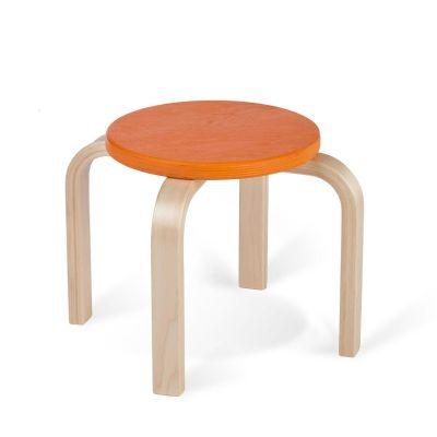Lasteaiatool/taburet TIPA, kask oranž RAL2003 nat. lakk, ümmargune, 4 jalga, istme K-27cm