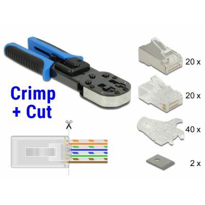 Tangid modulaarpistikutele RJ45 Crimp+Cut installatsiooni komplekt (tangid, 20tk UTP RJ45, 20tk STP RJ45, 40tk murdumiskaitsed, 2 lõiketera)