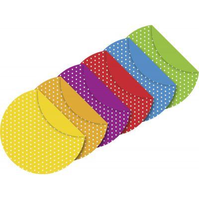 Origami paber ümar 15 cm 6värvi x11lehte pakis Täpid, 80g/m2, Heyda