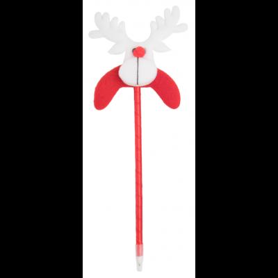 """Tidili pastapliiats, plastikust, mille peal on polüestrist jõulufiguur """"põhjapõder"""", sinine südamik"""