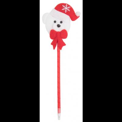 """Tidili pastapliiats, plastikust, mille peal on polüestrist jõulufiguur """"kaisukaru"""", sinine südamik"""