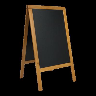 Kriiditahvel must A-kujuline SECURIT Duplo, K-125x60x68,5cm/ tiikpuidust raam