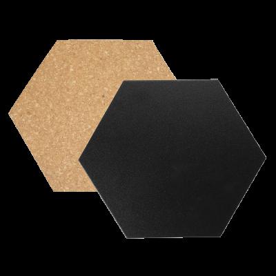 Seinatahvlite komplekt SECURIT Hexagon: kork 3tk ja must kriit 4tk, K-20x23x0,2cm+6 kaardinõela+valge marker+kinnitused/ kompl.