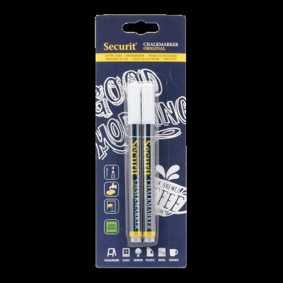 Tahvlimarkerid SECURIT Liquid Small valge, kriititahvlile 1-2mm, pakis 2 tk/ kompl.