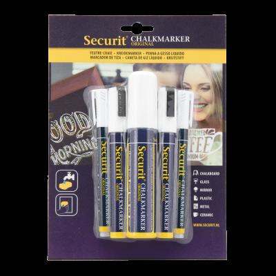Tahvlimarkerid SECURIT Liquid valge, kriiditahvlile, pakis 5 tk: 2 tk 1-2mm/ 2tk 2-6mm/ 1tk 7-15mm/ kompl.