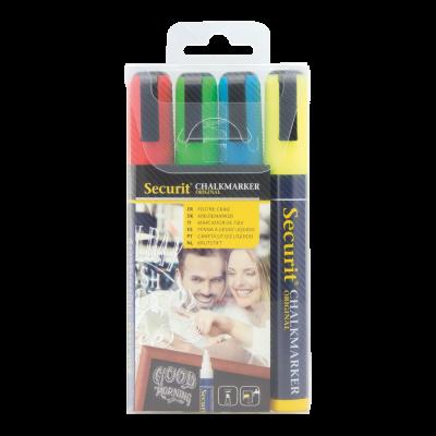 Tahvlimarkerid SECURIT Liquid Medium, kriiditahvlile 2-6mm, pakis 4 erinevat värvi/ kompl.