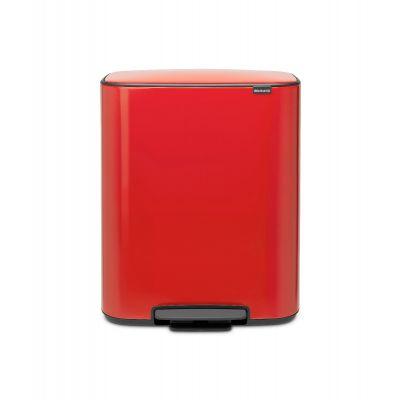 Prügikast 2x 30L, Brabantia, BO pedaaliga, K-65,2cm, L-54,1xS-36,3cm/ Passion Red, punane