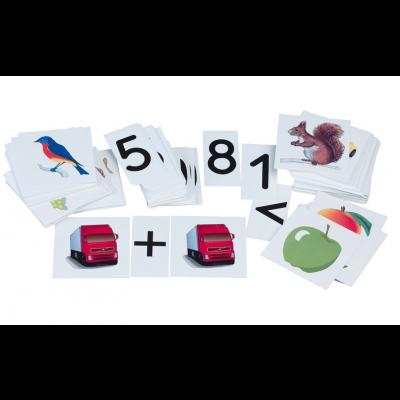 Matemaatika piltides, 80 pilti 10 x 10 cm, numbrid 0 - 9, tehtemärgid