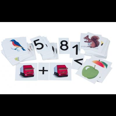 Matemaatika piltides, 210 pilti 10 x 10 cm, numbrid 0 - 9, tehtemärgid