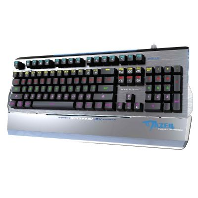 Klaviatuur mehaaniliste lülititega e-blue Mazer EKM752, eemaldatav randmetugi, valgustusega, alumiinium korpus, hall