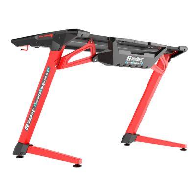 Arvutilaud Sandberg Fighter Gaming Desk 2 Red/punane MDF-plaat,metalljalad 120x64x77cm max150kg USB LED
