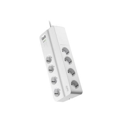 Pikendusjuhe APCSurgeArrest 2m valge (8 pesa, lüliti, ülepingekaitse, EMI/RFI mürafilter, liini vea LED indikaator)