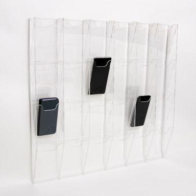 Mobiiltelefonide hoidik seinale, 24 taskut, L-621mm x H-613mm x S-64mm/ 3mm läbipaistev akrüül, eritöö