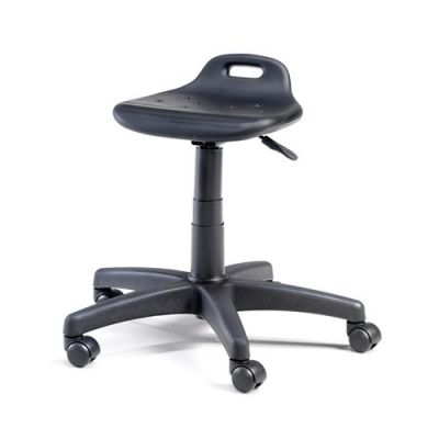 Töötool/töötaburet TAMBO, H42-55cm, ratastega, max 110kg/ must polüuretaan+must