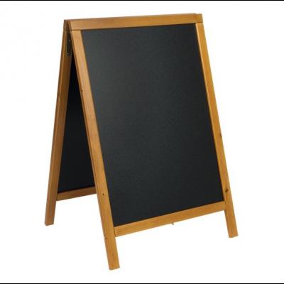 Kriiditahvel must A-kujuline SECURIT Duplo, K-85x44x54,5cm/ tiikpuidust raam