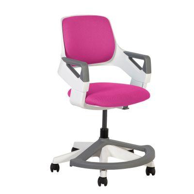 Töötool ROOKEE lastele, 13487 roosa polster, kasvule 110-160cm, reg. seljatoe kõrgus, istme sügavus; jalatugi/hall-valge plastik