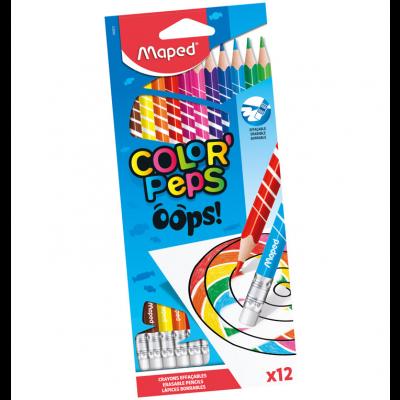 Värvipliiats ColorPeps Oops! 12 värvi, kummiga, Maped