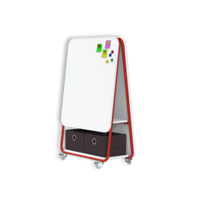 TeamWork Kids Mobiilne tahvel lastele, L-800x K-1200x S-360mm, 2 valget kirjutuspinda, ratastel/ punane raam