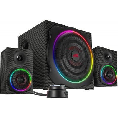 Kõlarid Speedlink Gravity Carbon 2.1 must, 60W RMS, töölaua pult, AUX, Bluetooth, RGB valgus 6 režiimi