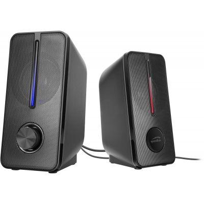 Kõlarid Speedlink Badour 2.0 must, 6W RMS, 3.5mm stereo pistik, RGB valgus (USB)