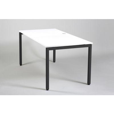 Laud/töölaud XPRS U-jalaraamil 1400x800mm, K-740mm, keskel ava D80+ valge pl. juhtmerosett/ valge mel. plaat+ must jalaraam