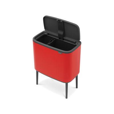 Prügikast 11+23L jalgadel, Brabantia, BO Touch Bin-puutele avanev, K-69cm,L-54xS-31,5cm/ Passion Red, punane